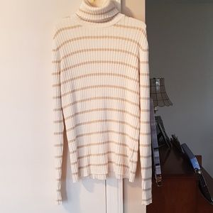 Cream and Gold Striped Turtleneck
